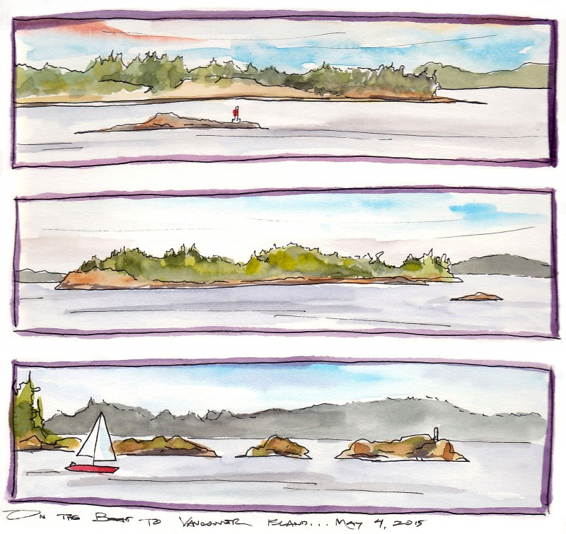 "San Juan Islands, 8"" x 8"" sketchbook, ink and watercolor"