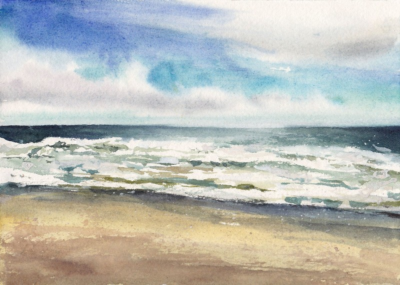 "Long Beach, Pacific Rim Park, 5.5"" x 7.5"" watercolor and gouache"