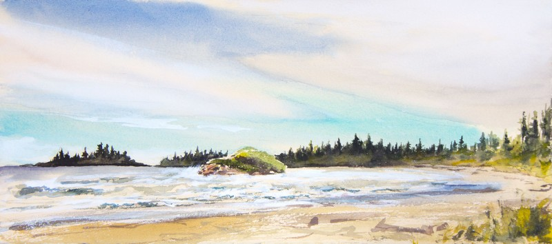 "Long Beach, Pacific Rim National Park, 6.5"" x 15"" watercolor and gouache"