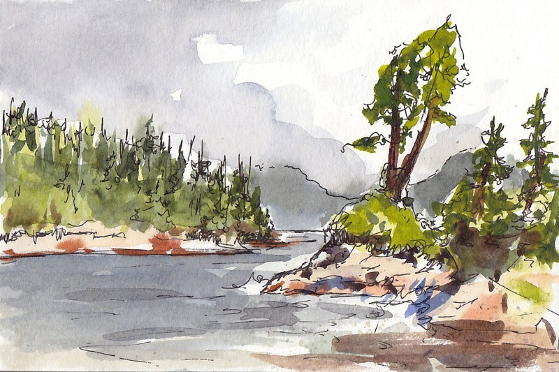 "Tonquin Beach, Tofino, 3.5"" x 5.5"" ink and watercolor"
