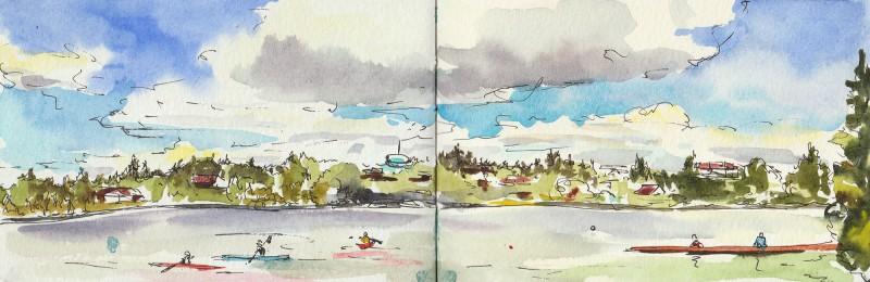 "Big Sky at Greenlake, 3.5"" x 11"" sketch in Moleskine notebook."