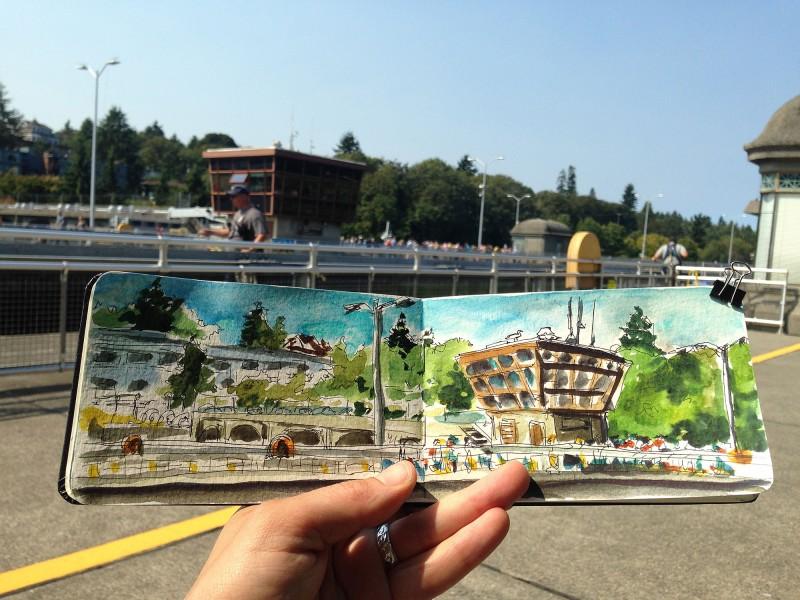Sketching at the Ballard Locks in Seattle