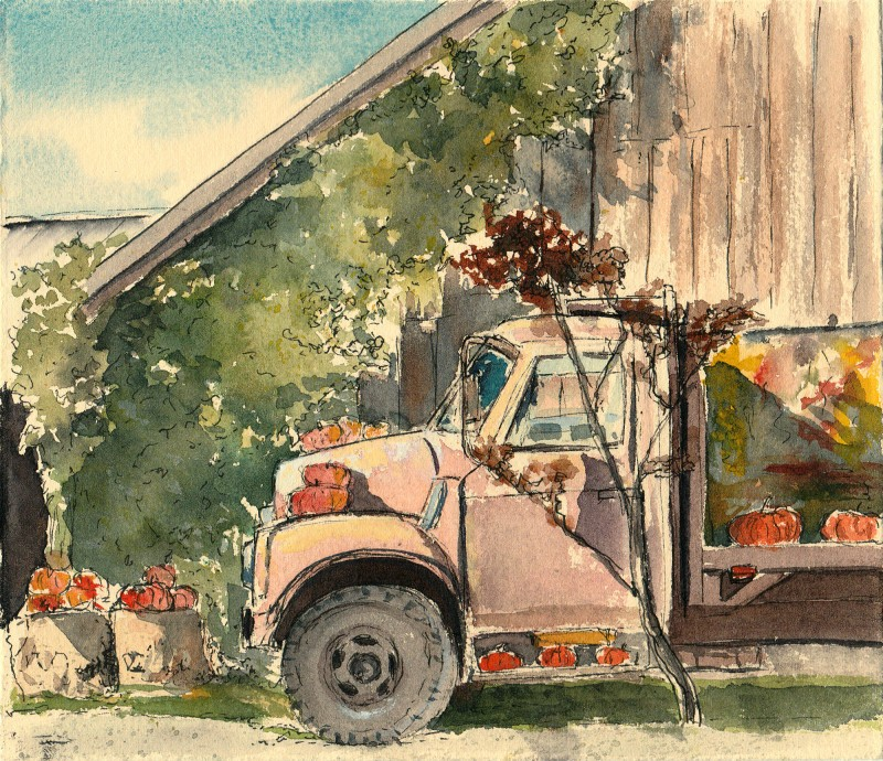 "Gordon's Skagit Farm, Mt. Vernon. 7.5"" x 6.5"" ink and watercolor on Arches Cover cream"