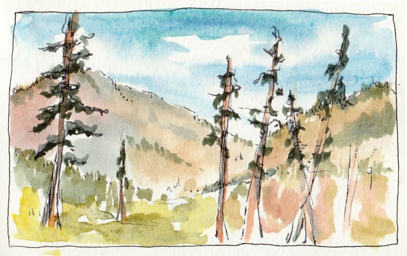 "Methow River trail, 3.5"" x 5"" watercolor sketch"