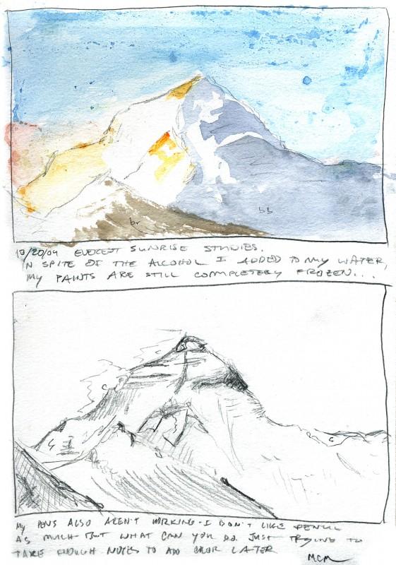 Mt. Everest sunrise sketches, 2004
