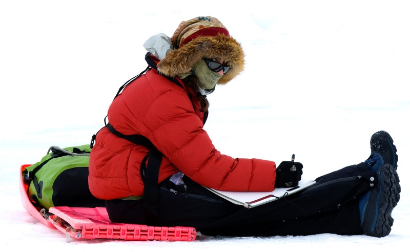 Sketching in Antarctica, photo credit Daisy Gilardini
