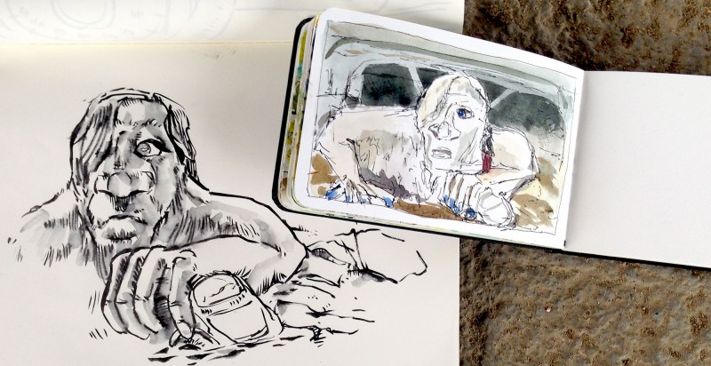 Che's sketch (left) and mine, photo by Che Lopez