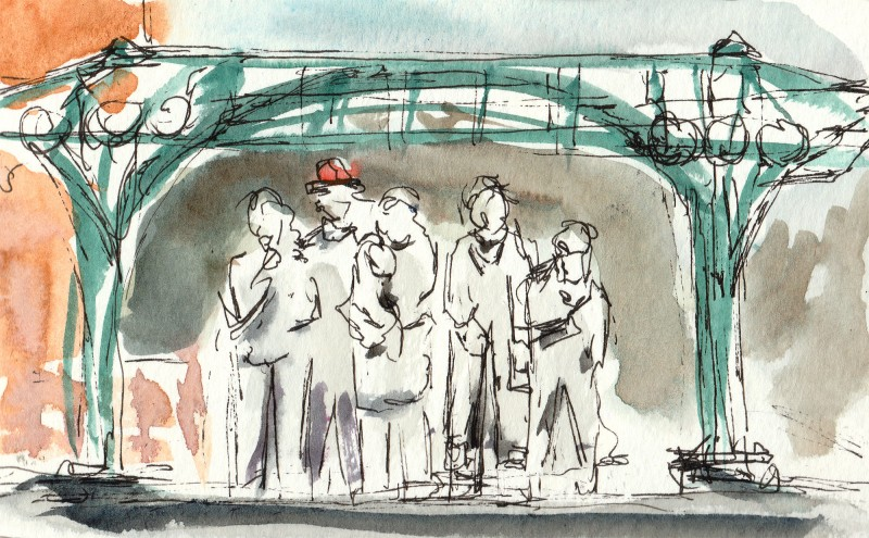 "Waiting for the Interurban, 3"" x 5"" moleskine sketch"
