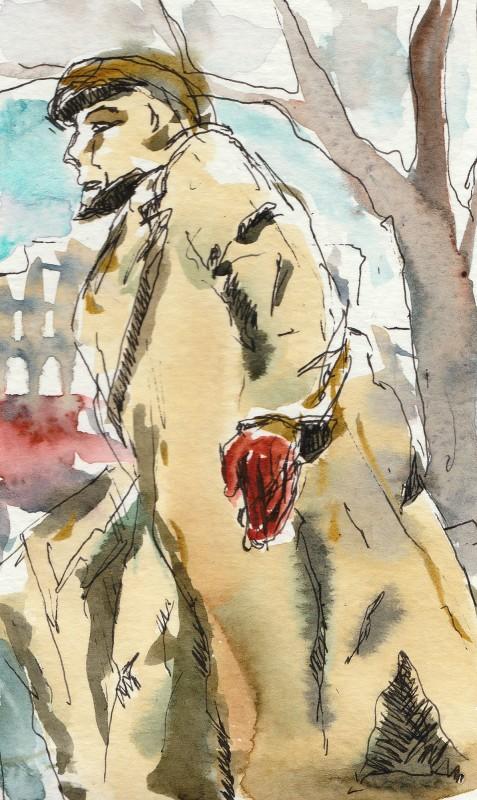 "Lenin, 5"" x 3"" moleskine sketch"