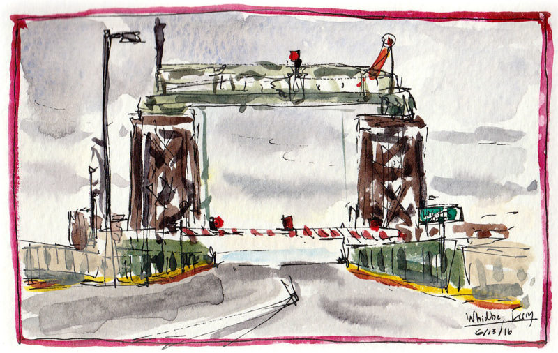 "The Coupville, Whidbey Island ferry terminal leads to Port Townsend, 3.5"" x 5.5"" ink and watercolor"