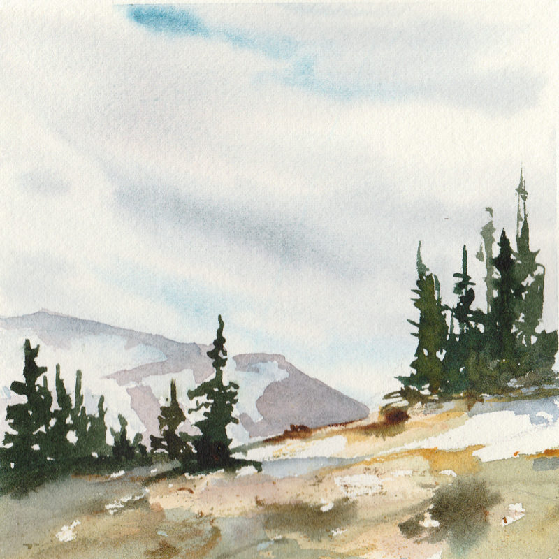 "Ridgeline, 5.5"" x 5.5"" watercolor"