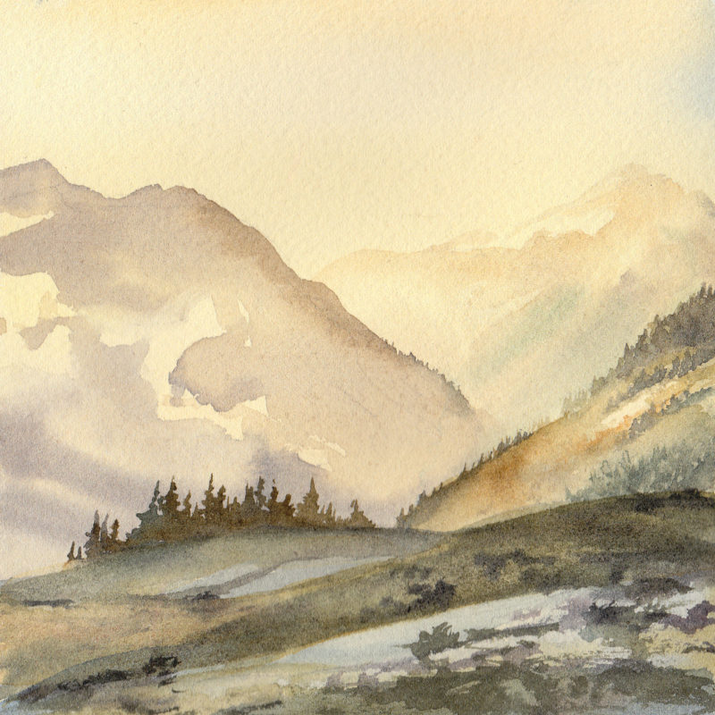 "Alpine sunrise, 5.5"" x 5.5"" watercolor"